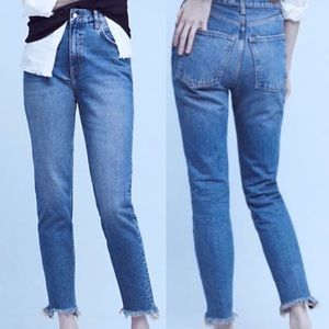 Anthropologie Pilcro Frayed Hem High Rise Jeans